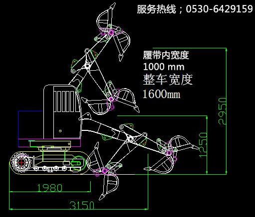 STW30电动挖掘机剖面图一